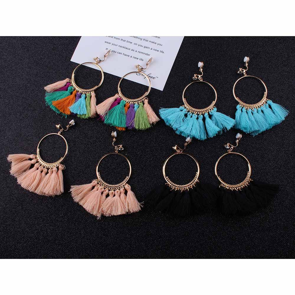 High Quality Bohemian Long Tassel clip on Earrings for Women Ethnic Sector no Ear Hole Earrings Fashion Jewelry