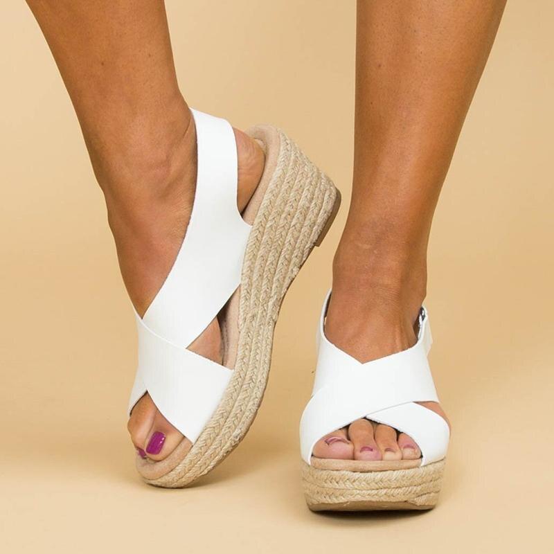 Monerffi Platform Sandals Cross-Tied Ladies Shoes Women Pumps High-Heels Plus-Size Summer