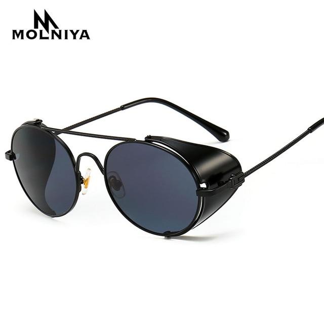 36199728c New 2019 Vintage Luxury Steampunk Style Sunglasses Quality Handmade Side  Shield Brand Design Sun Glasses Oculos De Sol