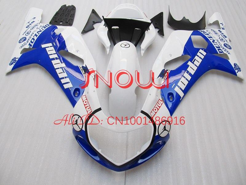 Blue White Jordan for SUZUKI GSX R600 R750 01 03 GSXR 600 GSXR600 GSXR750 GSX R600