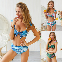 2019 Summer White Sexy Bikini Women Swimsuit Push Up Print Swimwear Halter Bikini Set Beach Bathing Suit Swimming Wear Plus Size