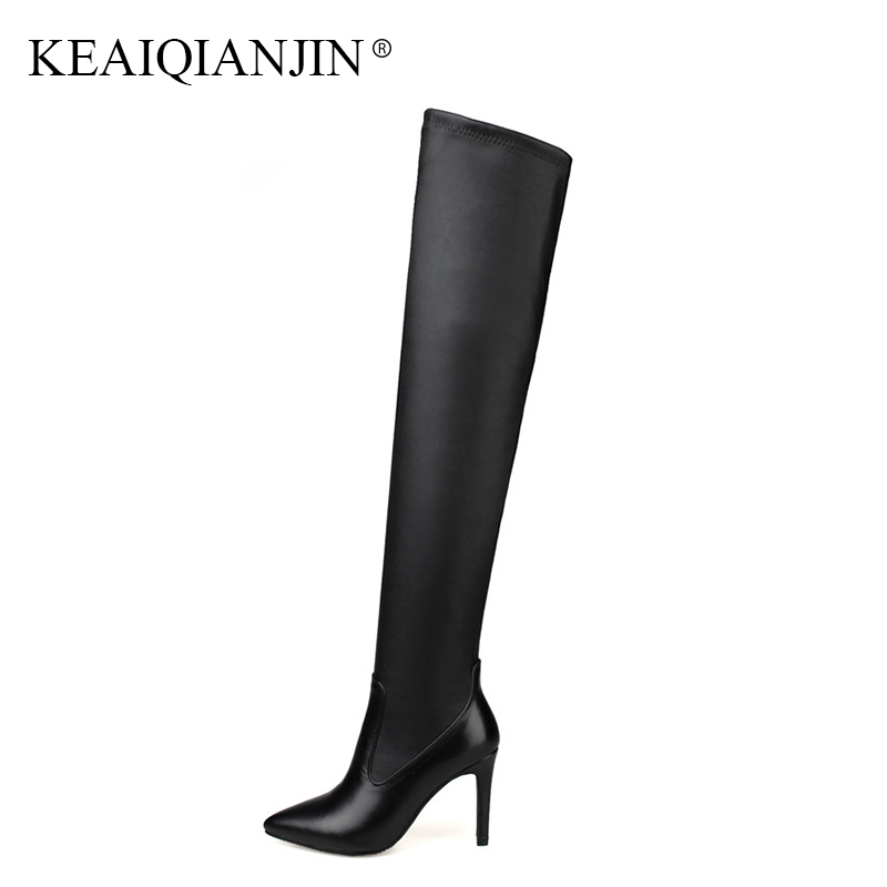 KEAIQIANJIN Woman Over The Knee Boots Plus Size 33-43 Black Winter Pointed Toe High Heel Boots Genuine Leather Thigh High Boots women winter genuine leather low heel rivets pointed toe side zipper fashion over the knee boots plus size 33 43 sxq1013