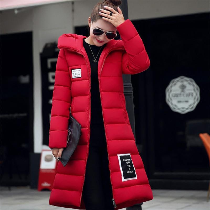 2019 New Fashion Long Winter Jacket Women Slim Female Coat Thicken   Parka   Maxi Cotton Clothing Red Clothing Hooded Student C2541