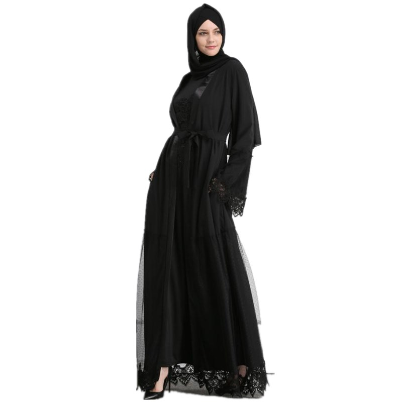 2019 Adult Casual Lace Mesh Robe Musulmane Turkish Dubai Fashion Abaya Muslim Dress Robes Arab Worship Service Wj1884