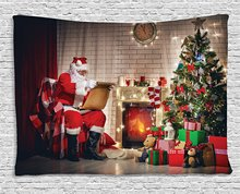 Santa Tapestry Old Claus Sitting at Home Christmas Night Reading a Letter Near the Tree, Wall Hanging for Bedroom Dorm