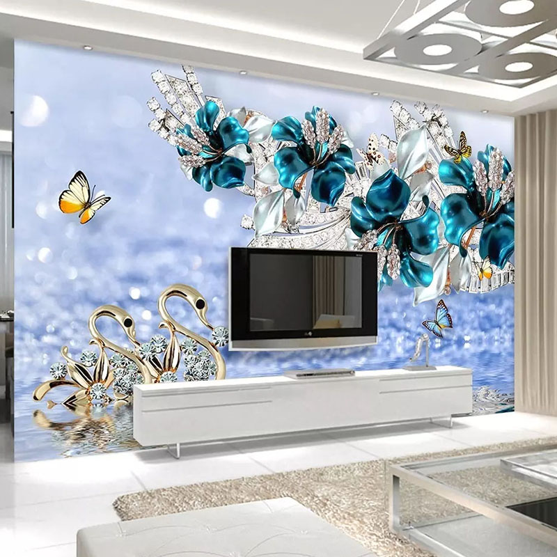 Custom 3D Photo Wallpaper Murals Swan Blue Flower Jewelry Living Room TV Wall Background Wall Papers Home Decor Papel De Parede