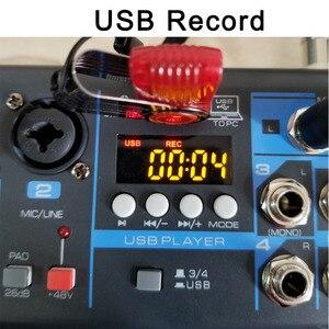 Image 5 - LOMOEHO AM 04 2 מונו + 1 סטריאו 4 ערוצים Bluetooth USB 48V פנטום מקצועי DJ אודיו מיקסר