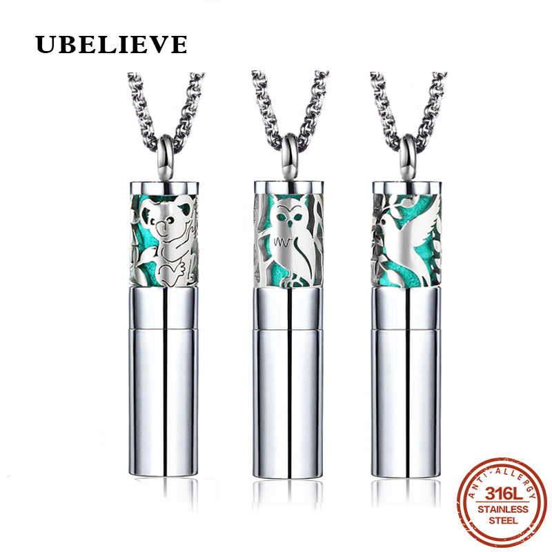 UBELIEVE Aromatherapy Locket Pendants Essential Oils 316L Stainless Steel Diffuser Perfume Locket Necklace Storage Pendant
