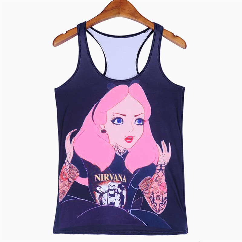 67f2c30b Wholesales Summer styles Fashion women's Sexy Cartoon Red Hair Girl digital  print Round neck sleeveless Tank Camisole-in Tank Tops from Women's  Clothing on ...