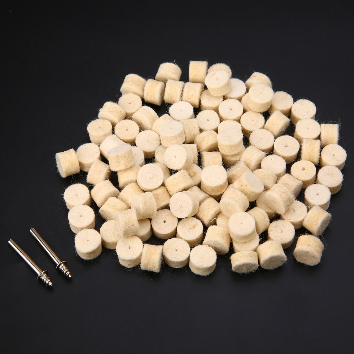 100pcs 13mm Wool Felt Polishing Buffing Wheel Grinding Wheels Polishing Buffing Pad With 2 Shanks For Abrasive Tools