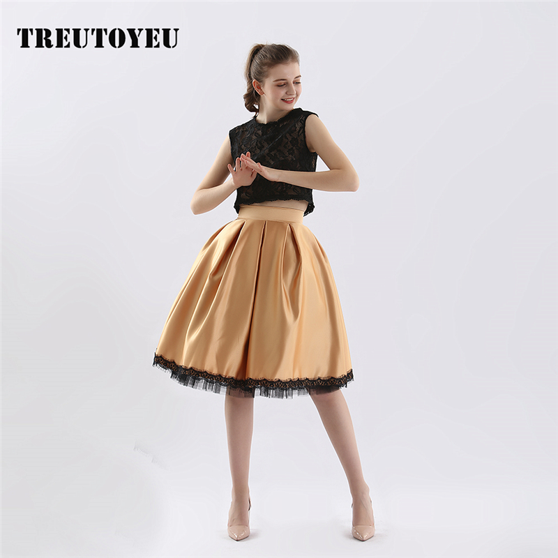2019 Summer kawaii Pleated Midi Skirt satin Metallic High Waist Korean Skirts Womens spodnica jupe falda rok