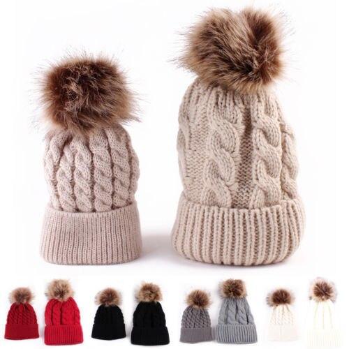 Hot Sale Family Match 2PCS Mom Mother+Baby Knit Pom Bobble Hat Kids Girls  Boys Winter Warm Beanie ... 315d270e6c89