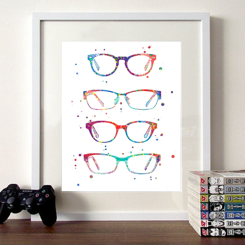 Watercolor Optometry Art Painting Wall Picture , Modern Glasses Canvas Art Prints And Poster Ophthalmology Gift Wall Decor
