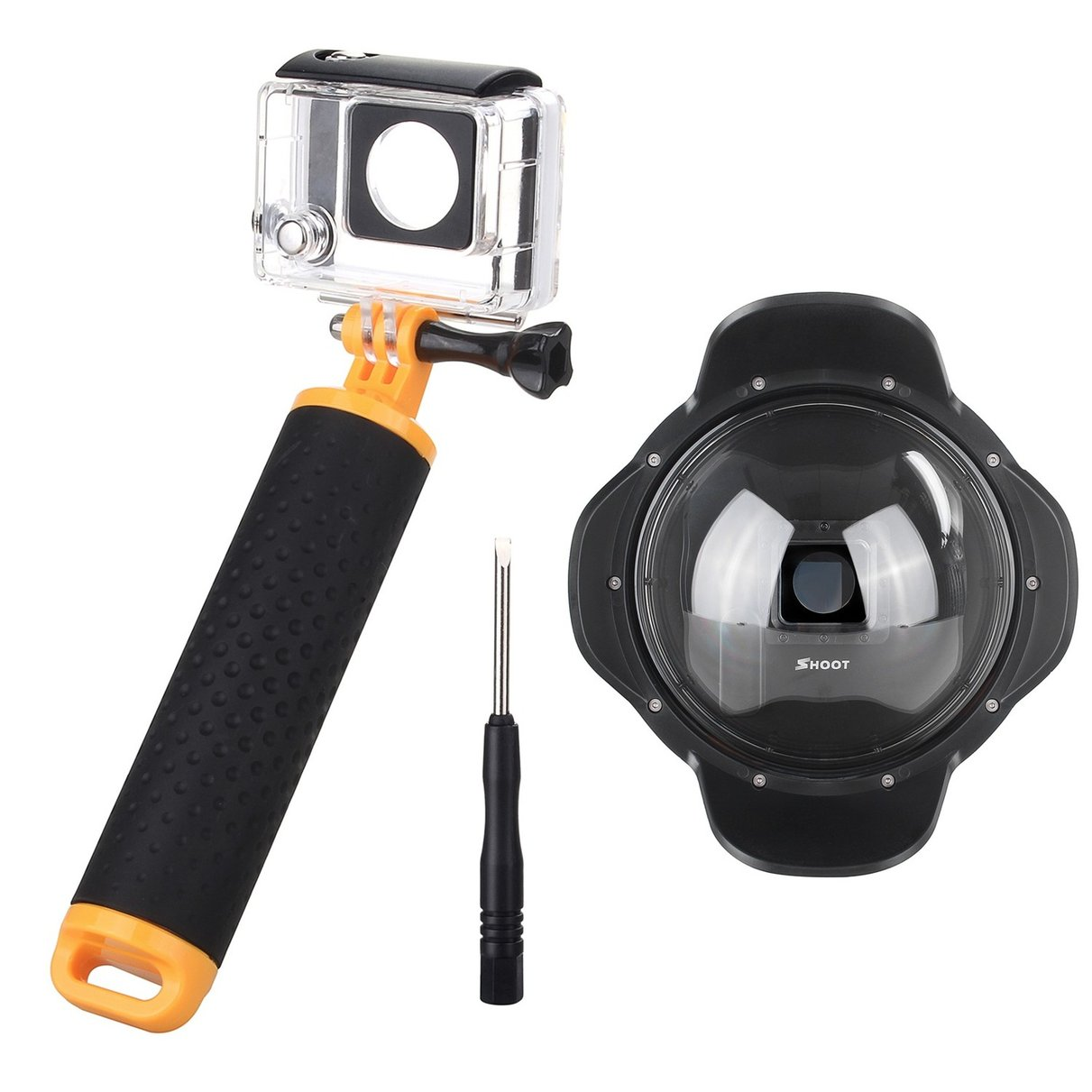 Shoot 6'' Diving Underwater Photography for Gopro Dome Port Cover with Floaty Handle with Lens Hood for GoPro Hero 3+/4 2pcs 3d printing lens cover protector sun hood shade fr gopro hero 3 3 4 camera