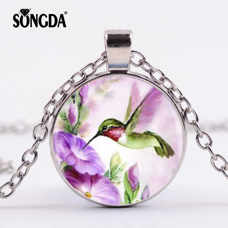 SONGDA Colorful Dancing Fly Hummingbird Birds Necklace Art Glass Photo Cabochon Pendants Necklace Animal Jewelry for Women Gifts