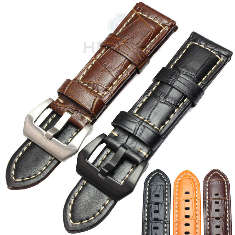 HENGRC Genuine Leather Watchbands 22mm 24mm Men Thick Watch Strap Band Brown Black Wristwatches Accessories For Panerai 22mm 24mm black mens genuine leather watch strap band
