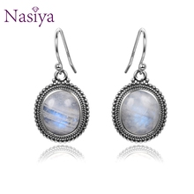 Classic Big Oval Natural Moonstone Earrings For Women 925 Fine Gemstone Sterling Silver Jewelry Party Engagement Birthday Gift