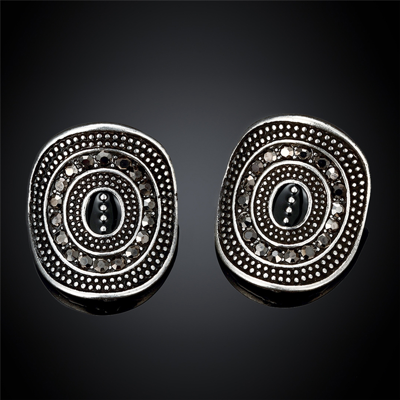 Fashion Round Stud Earrings For Women Neo-Gothic Earing Women Jewelry Lucky Gift Earrings Female Brincos Black Mens Earrings