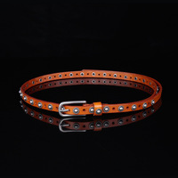 2018 fashion Red Belt For Women's Dress Genuine Leather White Belt Waist Luxury Leather Waistband Narrow Thin pearl Belt