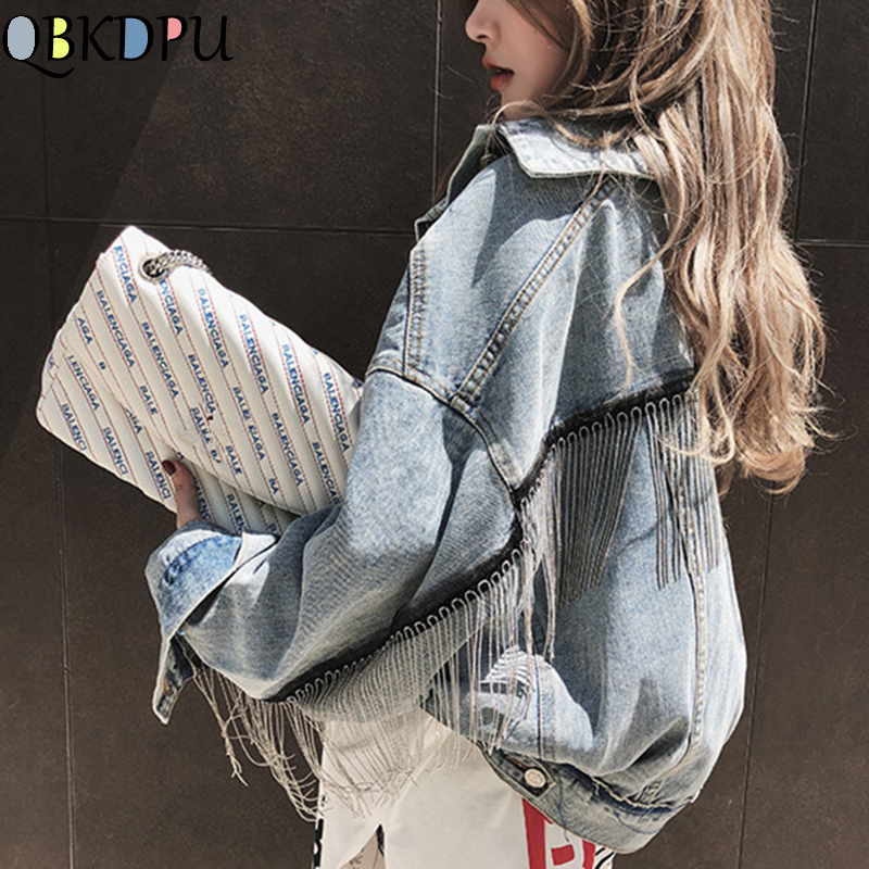 Women Denim Long Batwing Sleeve Jacket Spring Beading Tassle Short Loose Girl Jeans Coats Streetwear Fashion Harajuku Outerwear