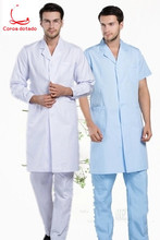 The doctor wears the laboratory pharmacy dentists overalls and long-sleeved white coats