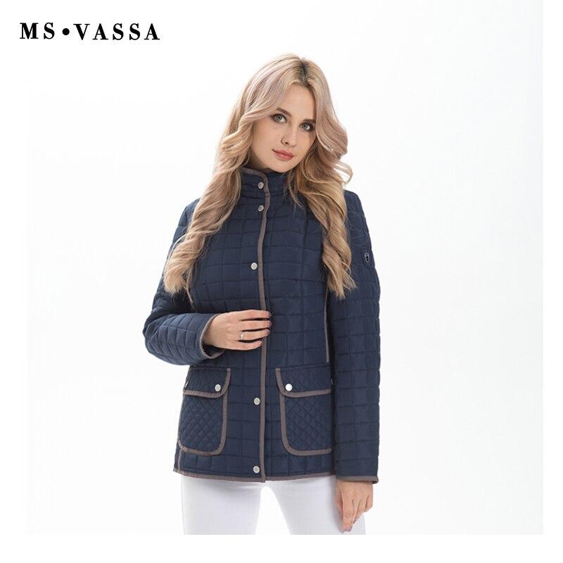 MS VASSA Damen Jacken 2018 Neue Frauen Herbst Winter Mäntel Plus größe 6XL 7XL lange hülse drehen unten kragen oversize oberbekleidung-in Basic Jacken aus Damenbekleidung bei  Gruppe 2
