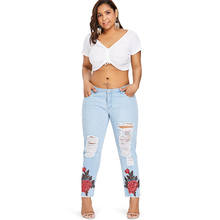 Women's Skinny Floral Embroidered Denim Ripped Jeans