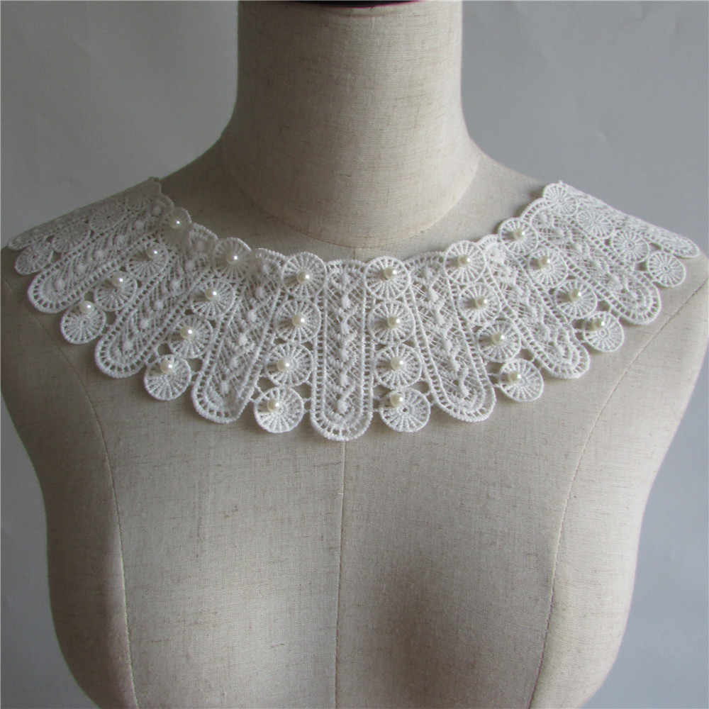 white pearl Embroidered Lace Collar Neckline Venise Applique Embroidery Sewing on Patches Sewing Fabric Accessories YL94