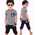 Summer Toddler boys clothing Short sleeve anchor patterns Navy Striped T-shirt +Pants boys clothes Children kids Clothing set Y3