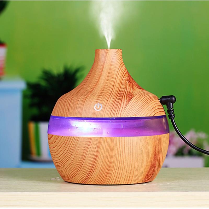 USB 300ml Humidifier Purifier Wood Grain LED Aroma Essential Oil Diffuser Mist Maker LED Night light for Office Home 7 Color LED