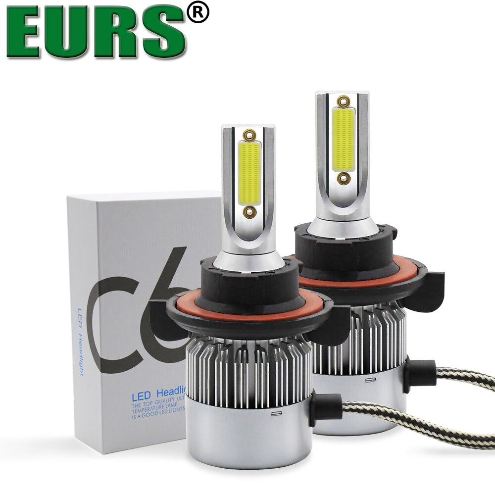 Eurs (TM) 2 шт. все в один удар оригинальный чип 72 Вт 7600LM 6000 К <font><b>C6</b></font> <font><b>H1</b></font> H7 H4 H11 9005 9006 h11 H13 <font><b>LED</b></font> Освещение Противотуманные огни