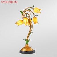 Американский LED Настольная лампа старинные личность кованого железа Романтические цветы Европейского искусства гостиной спальня исследов