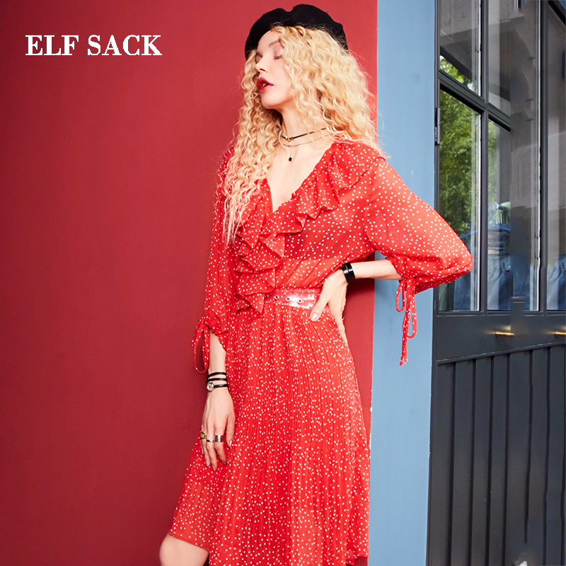 ELF SACK New Fashion Woman Dress Casual A line Dot Red V Neck Ruffle Women Chiffon