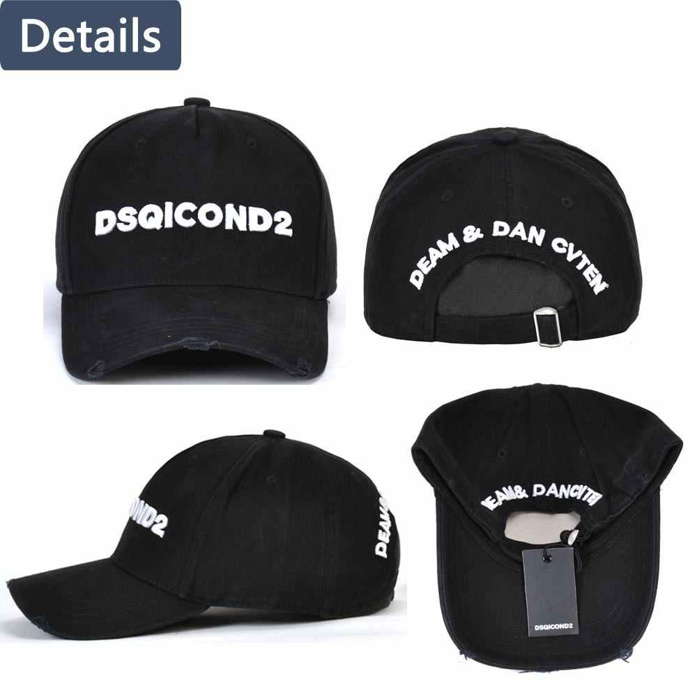 DSQICOND2 in bianco e nero minimalista bastone da tennis DSQ degli uomini di alta qualità cappelli di design personalizzato logo degli uomini della protezione di papà cappello