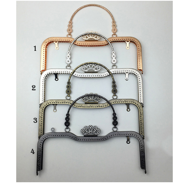 DIY metal purse clasp frame knurling mouth golden bag hardware accessories crown diamond with handle 27cm colorful pu leather strap for bag accessories handle with metal clasp for diy purse 10pcs lot