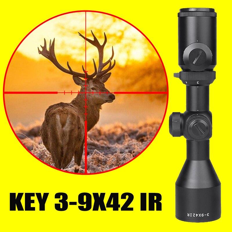 New Hot KEY 3-9x42 Rifle Optics Sniper Scope Compact Riflescopes Hunting Scopes With 20mm/11mm Rail Mounts  Hunting Optics