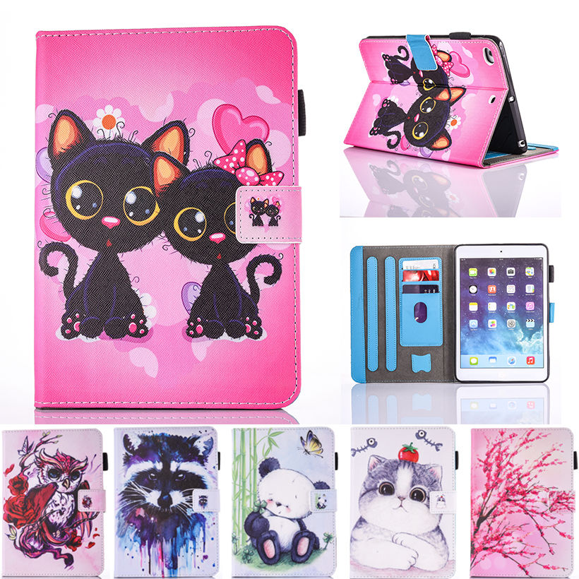 Fashion Cartoon Silicone PU Leather Flip Cover For Apple iPad air 1 2 case For iPad 5 6 Tablet Funda Owl Cat Pattern Stand Shell for apple ipad air 2 pu leather case luxury silk pattern stand smart cover