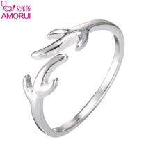 AMORUI Christmas Gift 2017 Trendy Silver Rings for Women Refinement Antlers Wedding Silver Ring Open Jewelry Bague Femme Anillos