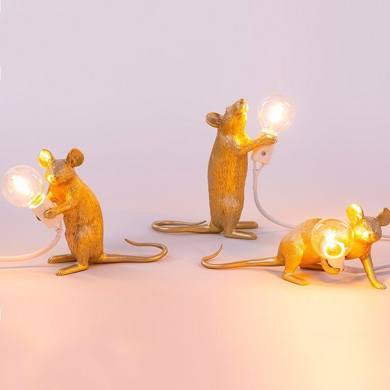 Art Cute White Mouse lamp Black gold White Animal Rat Mouse Table Lamp Lights Kids' Gift Room Decorate Cute LED Night Lights