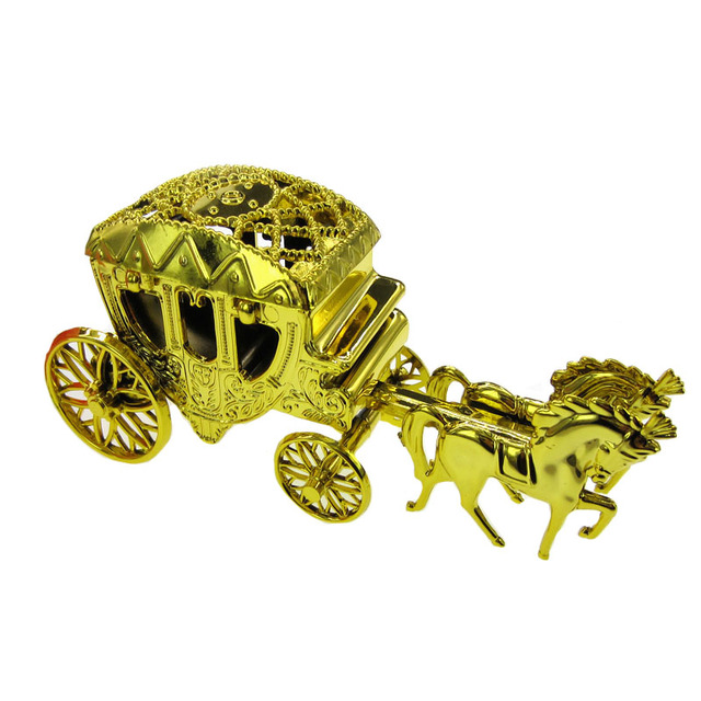 2pcs Gold Royal Vintage Cinderella Horse And Carriage Coach Baby Shower Wedding Candy Cake Topper Party