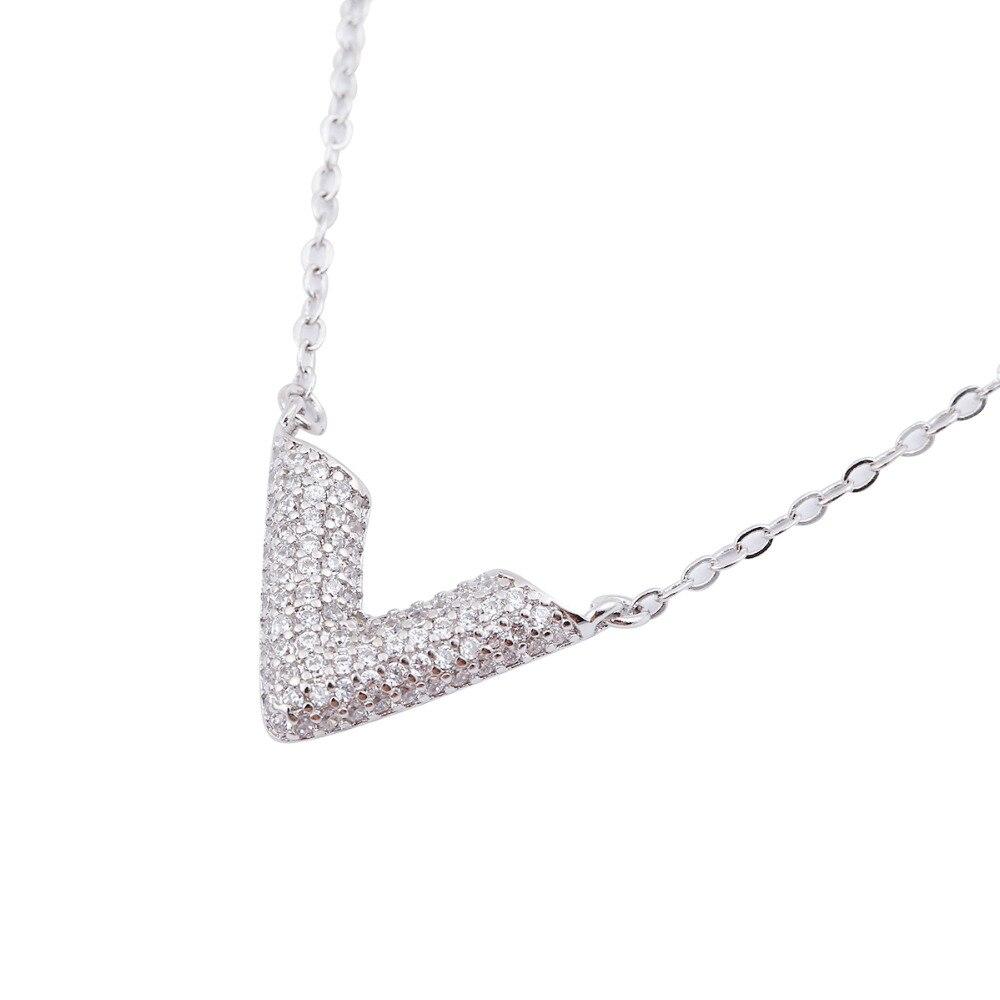 Hfarich Dainty Minimal Crystal Chevron Necklace women Long chain V necklace collares grandes de moda 2017 SYXL068