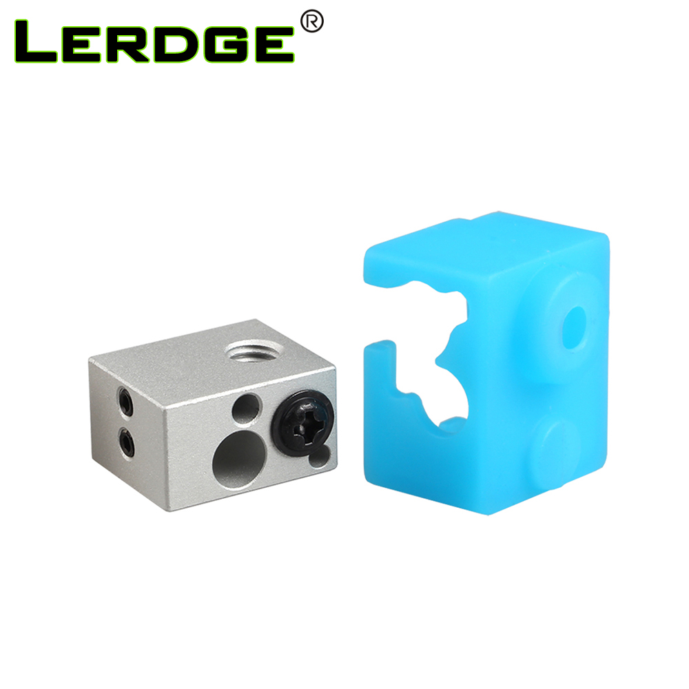LERDGE 3D Printer Parts XCR-NV6 Heat Block For J-head Extruder HotEnd Heater Block With Silicone Sock 0.4mm Nozzle Replace V5 V6