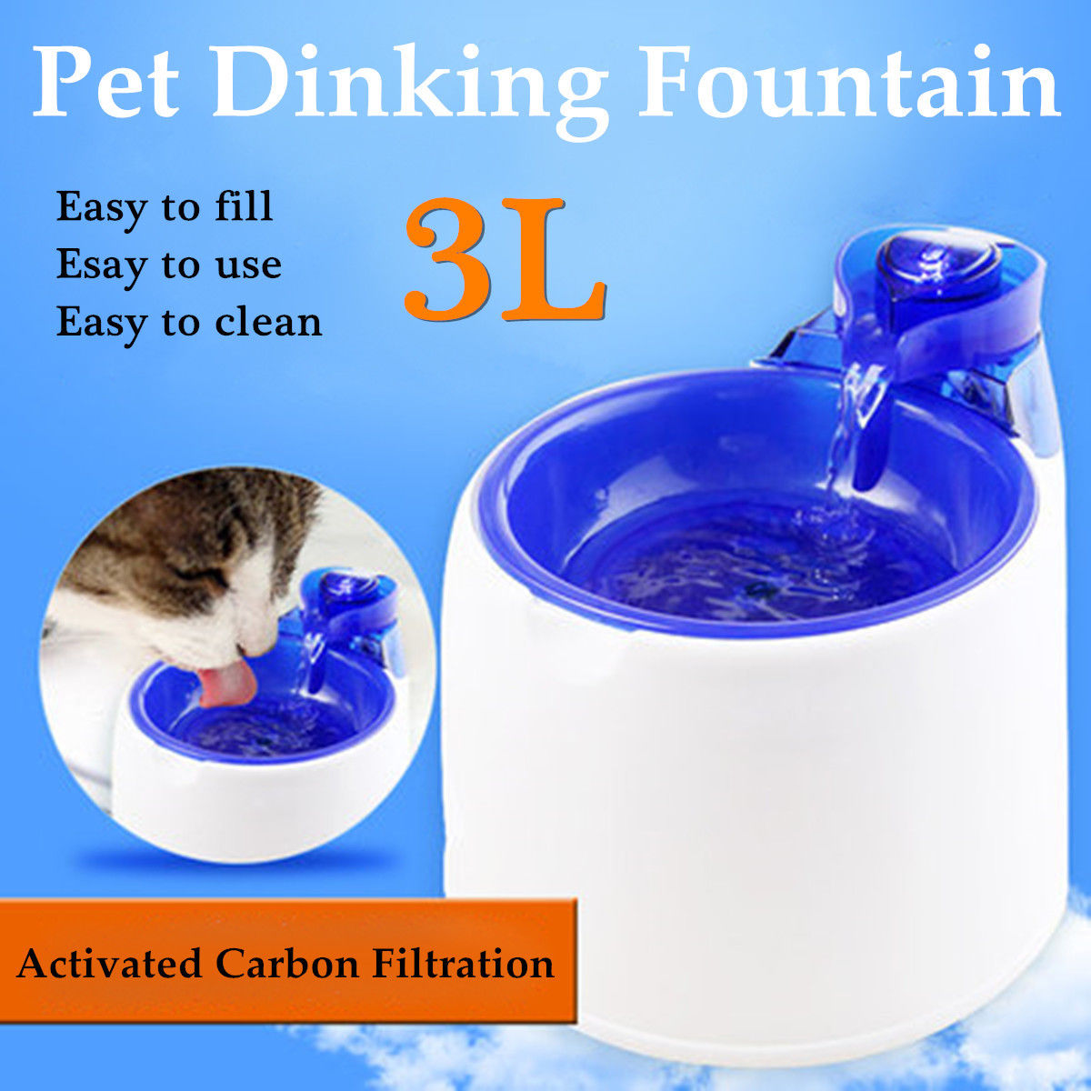 3L Electric Automatic Pet Water Fountain Dog Cat Drinking Bowl Waterfall Feeder Auto Pet Water Drinking