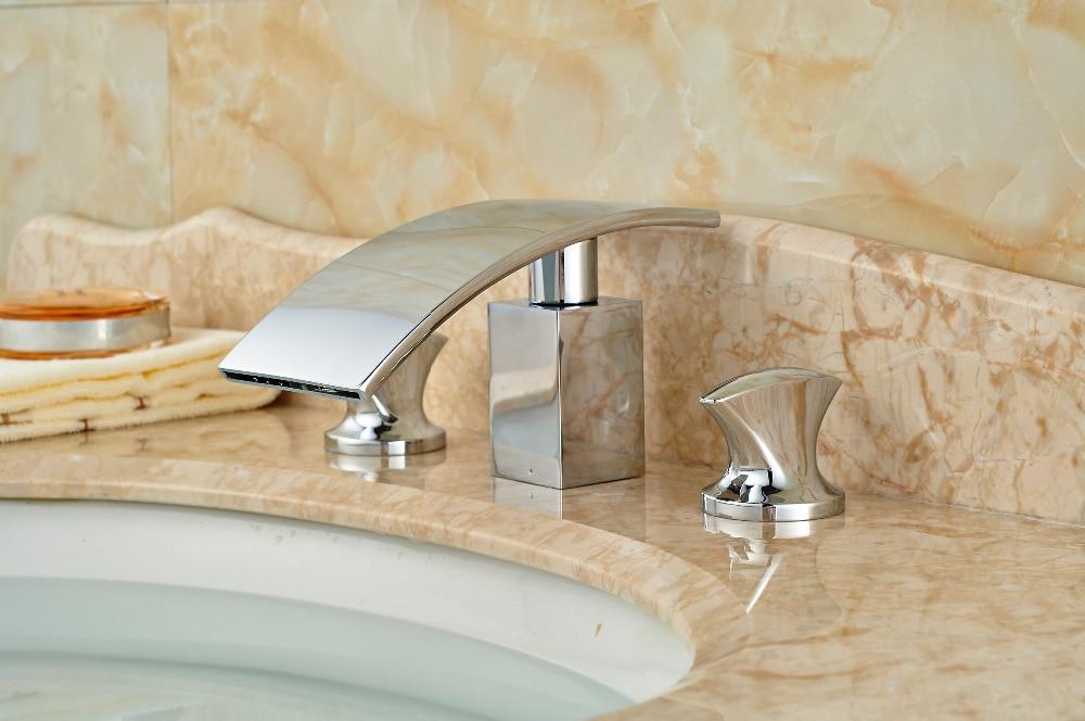 Special Chrome Brass Bathroom Basin Deck Mounted Sink Faucet Waterfall Mixer tap Handles 3PCS deck mount waterfall spout 3pcs brass basin sink faucet dual handles 3 holes mixer tap chrome finish page 3