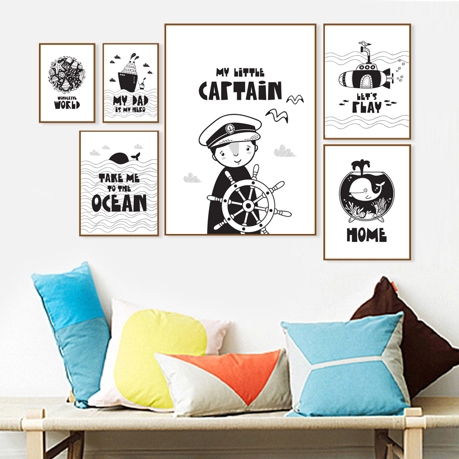 Ocean World Captain Boy Submarine Whale Wall Art Canvas Painting Black White Nordic Posters And Prints Pictures Kids Room