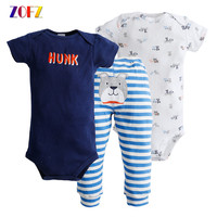 ZOFZ Baby Clothing Sets For Bebes 3pcs Summer Hot Colourful Casual Cute Set Suit Short Romper