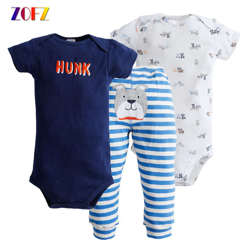 ZOFZ Baby Clothing Sets for bebes 3pcs Summer Hot Colourful Casual Cute Set Suit Short Romper Baby Boys Clothes for babies