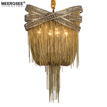 Bronze โมเดิร์นโคมระย้าอลูมิเนียม Light ภาษาอิตาเลี่ยนพู่โซ่ Lustres โคมไฟแขวนสำหรับห้องนั่งเล่น Foyer