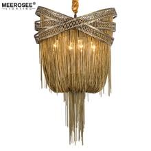Bronze Modern Aluminum Chandelier Light Italian Tassel Design Chain Lustres Lamp Hanging Lighting for Living room Foyer