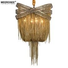 ברונזה מודרני אלומיניום נברשת אור איטלקי טאסל עיצוב שרשרת Lustres מנורת תליית תאורה לסלון מבואה
